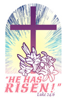 Easter Bulletin Cover with purple cross, white lily with He Has Risen Luke 24:6 Caption