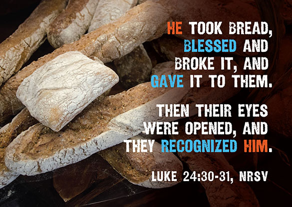 Easter Religious Photo of breaking bread with Scripture Caption