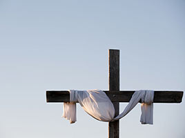 Easter Religious Photo One Cross and Draped Robe