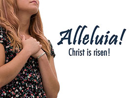 Easter Religious photo of young woman worshipping and Alleluia caption