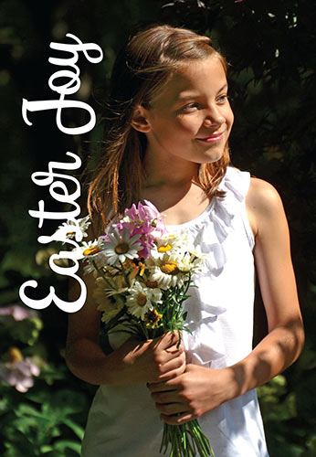 Easter Religious photo of girl with spring flowers and Easter Joy Caption