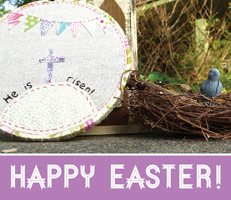Easter Religious Photo of bird nest and Happy Easter caption