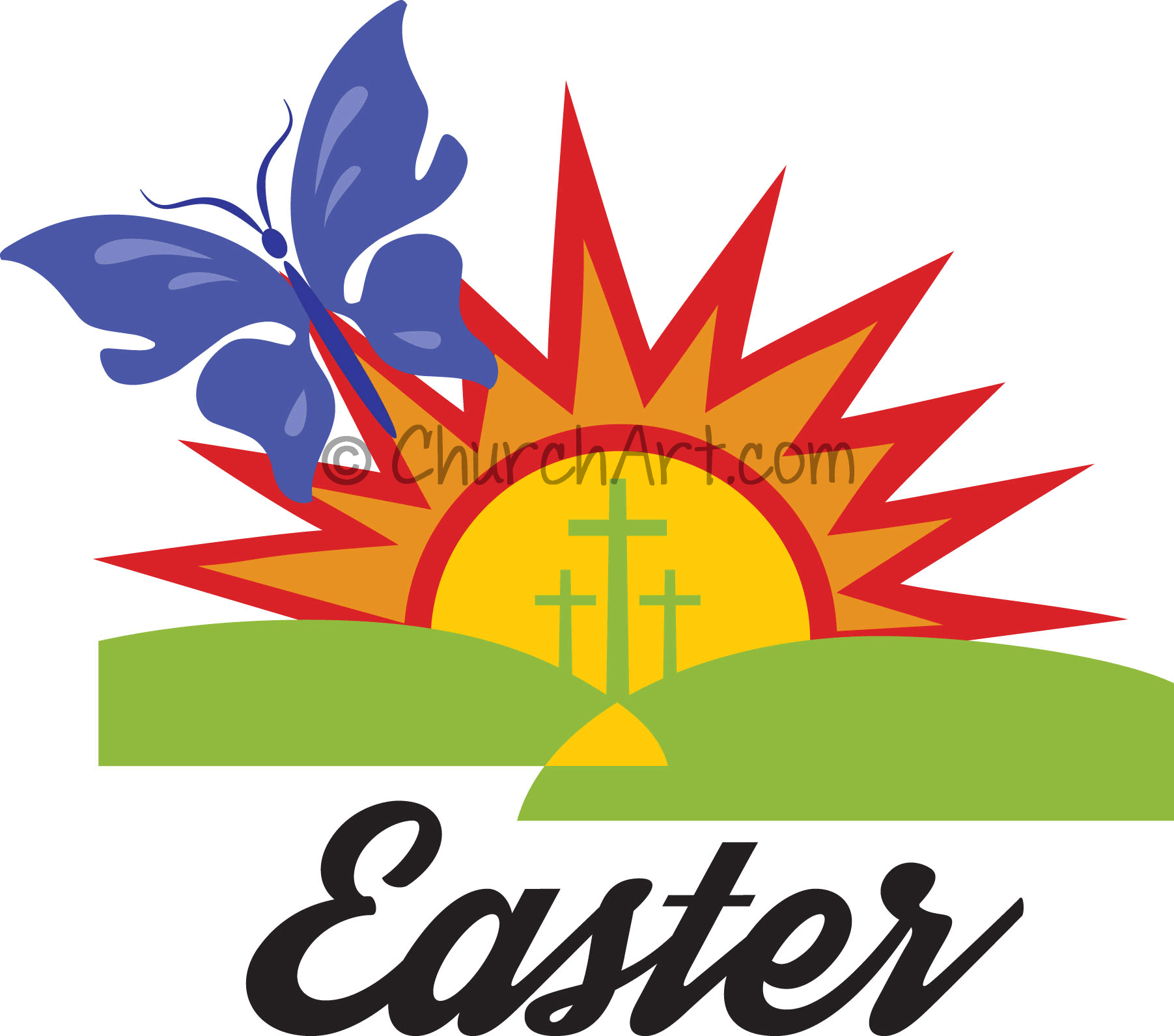 Easter clipart with sunrise, three crosses and butterfly for Easter service, Easter church bulletin or Easter church newsletter