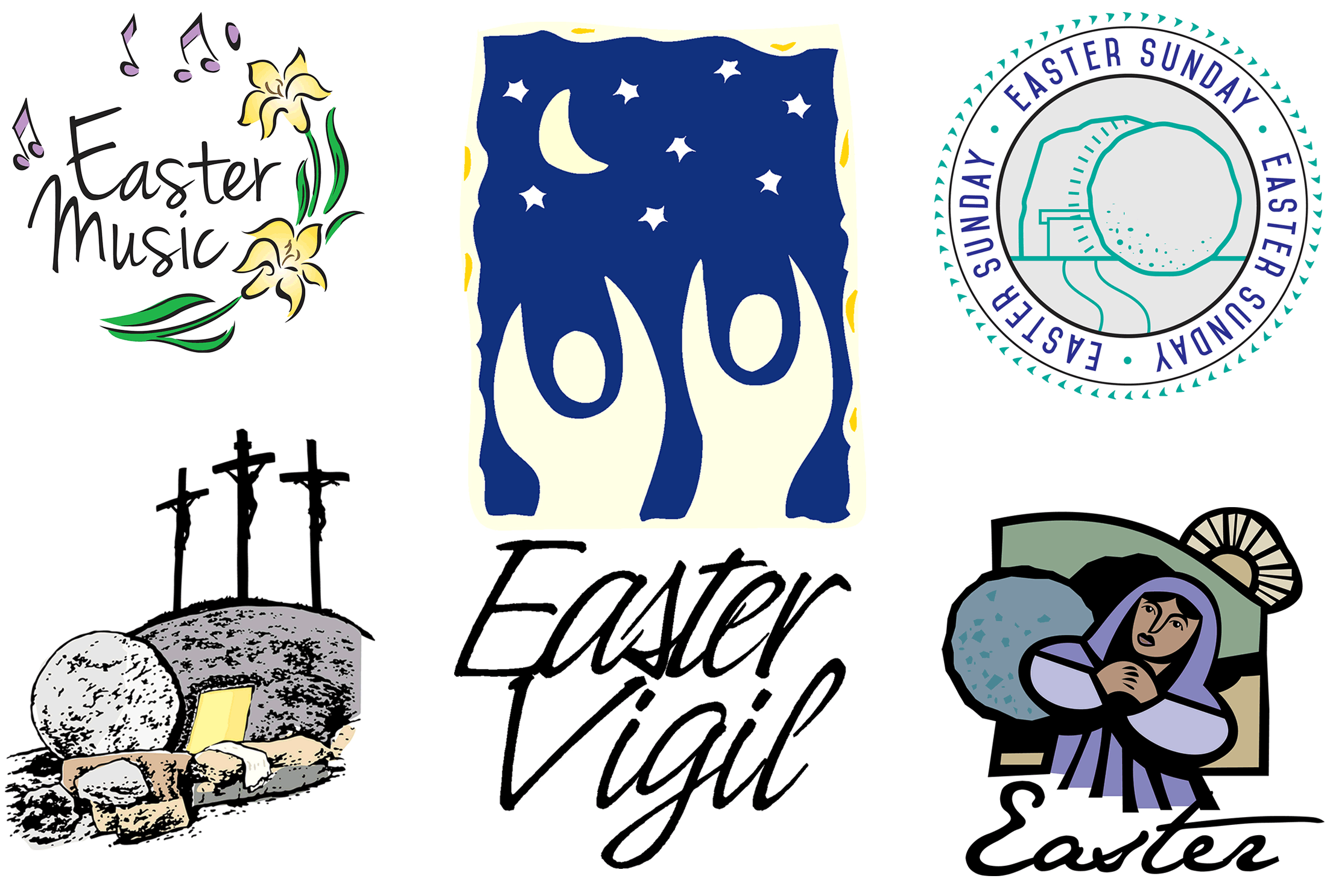 Easter Sunday Clipart variety of image styles
