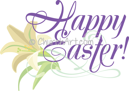 Easter Sunday clipart with lily and Happy Easter caption