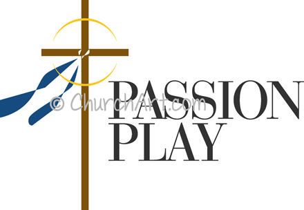 Easter Sunday clipart with draped cross and Passion Play caption