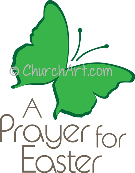 Easter Sunday clipart with butterfly and Prayer for Easter caption