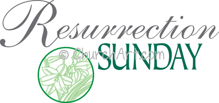 Easter Sunday clipart with lilies and Resurrection Sunday caption