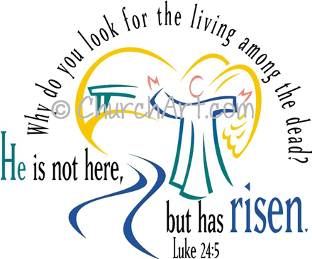 Easter Sunday clipart with angel and Risen Scripture caption