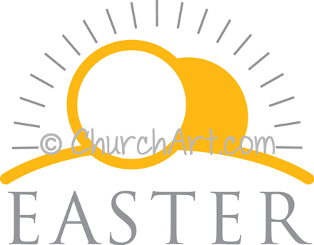 Easter Sunday clipart with stone rolled away from tomb and Easter caption