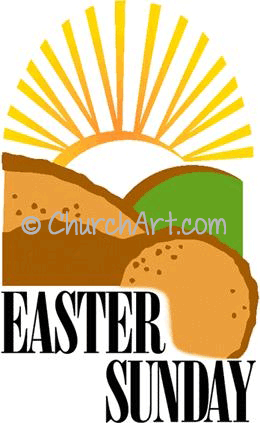 Easter Sunday clipart with sunrise over open tomb and Easter Sunday caption