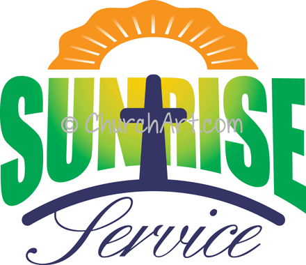 Easter Sunday clipart with sun and cross and Sunrise Service caption