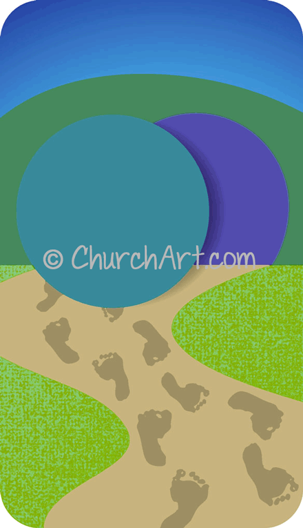 Easter Sunday clipart with open tomb and footprints