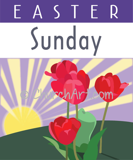 Easter Sunday with red tulips image