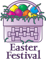 Easter egg clip-art of baskets with eggs and Easter Festival caption