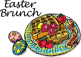 Easter egg clip-art with decorated eggs and plate of strawberry waffles and Easter Brunch caption