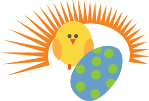 Easter egg clip-art with chick and sun and decorated egg