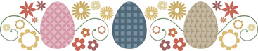 Easter egg clip-art border with flowers and decorated eggs