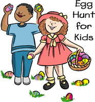 Easter egg clip-art with boy and girl and Egg Hunt for Kids caption