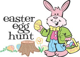Easter egg clip-art with Easter bunny and Easter Egg Hunt caption