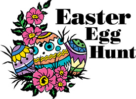 Easter egg clip-art with decorated eggs hidden in flowers and Easter Egg Hunt caption