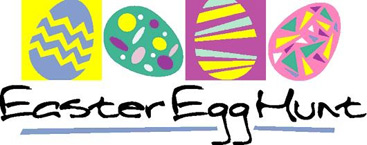 Easter egg clip-art with four decorated eggs and Easter Egg Hunt caption