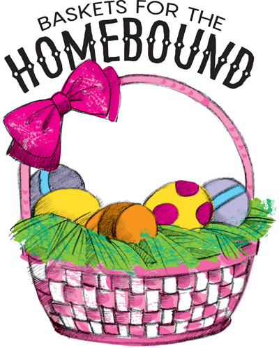 Easter egg clip-art with eggs in basket and Baskets for the Homebound caption