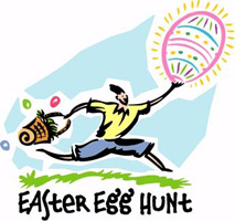 Easter egg clip-art with boy running with egg and basket and Easter Egg Hunt caption