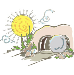 Empty Tomb Clipart with bright sun for Jesus Christ's Resurrection