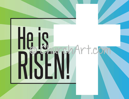 He is Risen! Captioned cross image