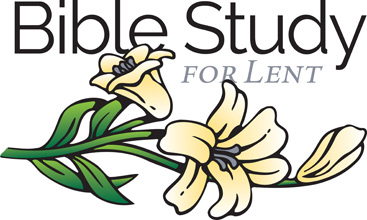 Lent-Clip-Art with white lilies and Bible Study for Lent caption