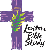 Lent-Clip-Art with purple cross, crown of thorns, palm leaf and Lenten Bible Study caption