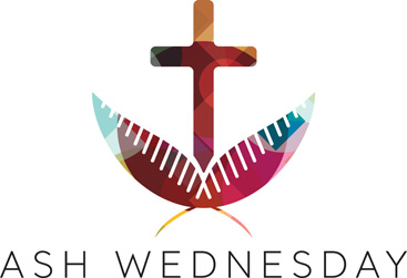 Lent-Clip-Art with cross and palm leaves and Ash Wednesday caption