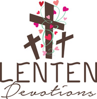 Lent-Clip-Art with three crosses and hearts and Lenten Devotions caption