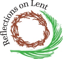 Lent-Clip-Art with crown of thorns and palm leaf with Reflections on Lent as caption