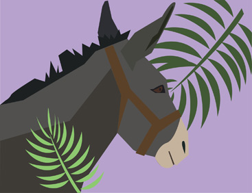 Lent-Clip-Art with donkey and palm leaves on purple background
