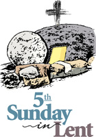 Lent-Clip-Art empty tomb with a cross behind it and 5th Sunday in Lent caption
