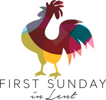 Lent Clip-art with rooster crowing and First Sunday in Lent caption