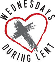 Lent-Clip-Art with cross inside a heart and Wednesdays During Lent caption