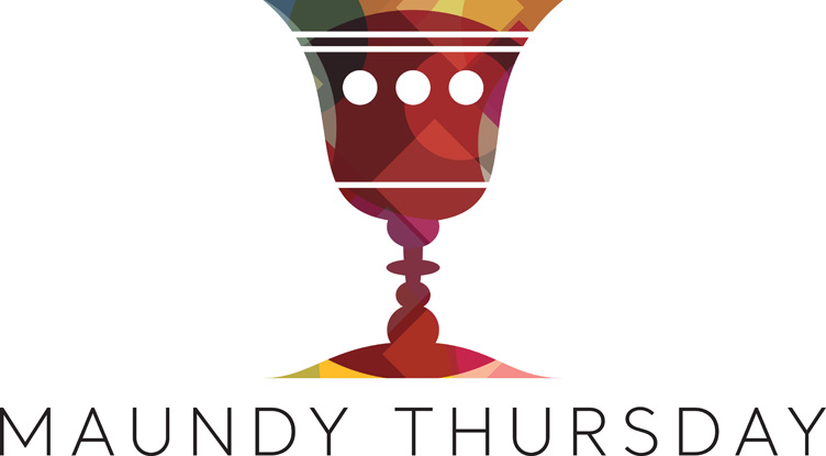 Lent clip-art with chalice image and Maundy Thursday caption
