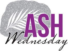 Lent-Clip-Art with palm leaf on ashes and Ash Wednesday as caption