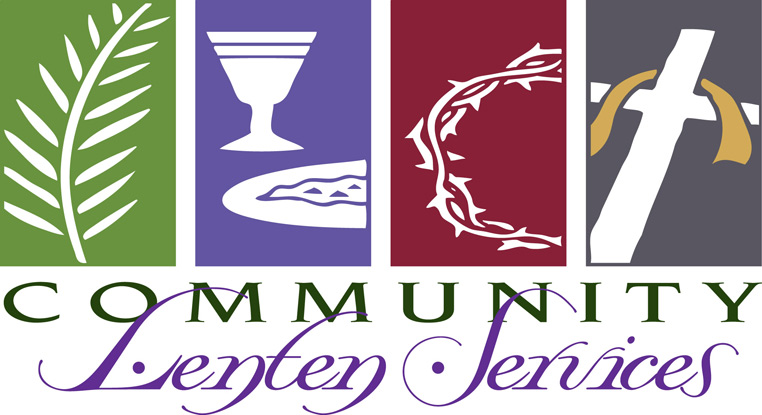 Lent-Clip-Art with palm leaf, chalice, crown of thorns, cross and Community Lenten Services as caption