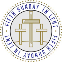 Lent-Clip-Art with 3 crosses on a hill in a circle and Fifth Sunday in Lent caption around the circle