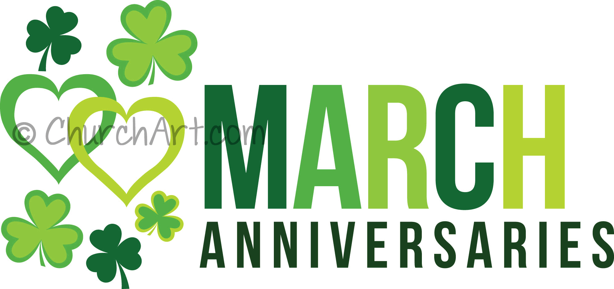Clip-art image to celebrate March anniversaries in your church newsletter or church bulletin