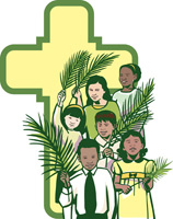 Palm Sunday Clip Art Image of cross and children holding palm branches