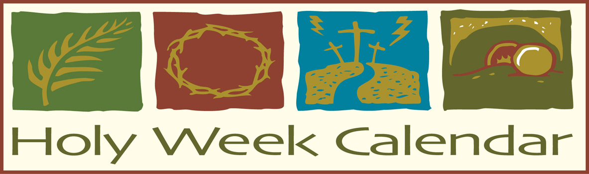 Palm Sunday Clip Art Border Image with Holy Week caption and images of palm branch, crown of thorns, Calvary, and an empty tomb