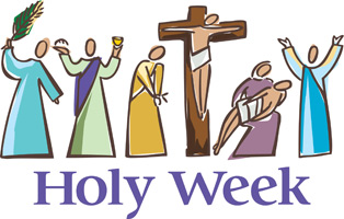 Palm Sunday Clip Art Image of Jesus on the cross with disciples at His feet with Holy Week caption