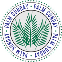 Palm Sunday Clip-Art Image Circular with Palm Sunday caption and 3 palm branches in the center