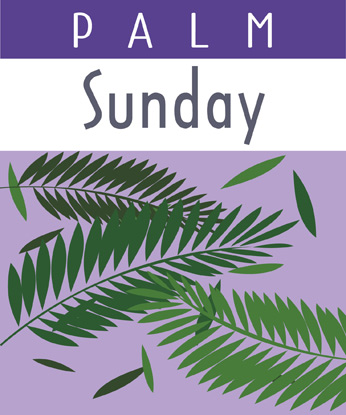Palm Sunday Clip-Art Image with Palm Sunday caption and palm branches