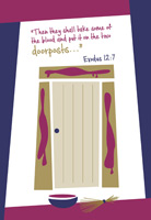 Passover Clip-Art Referencing Exodus 12 with a doorpost and lentils marked with blood